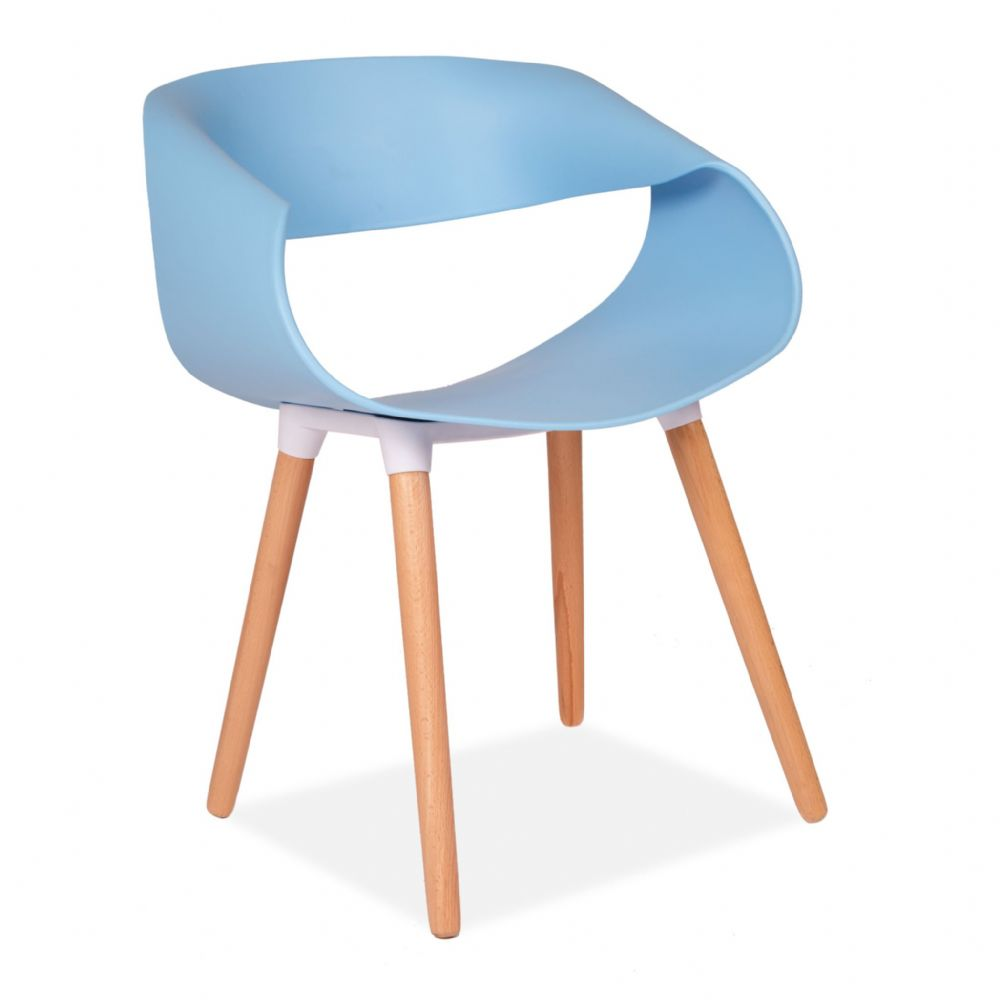 Blue Twist Back Designer occasional chair- with Wooden Legs